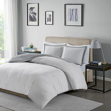 Madison Park Essentials Hayden Stripe Duvet Cover Set in Grey - Twin