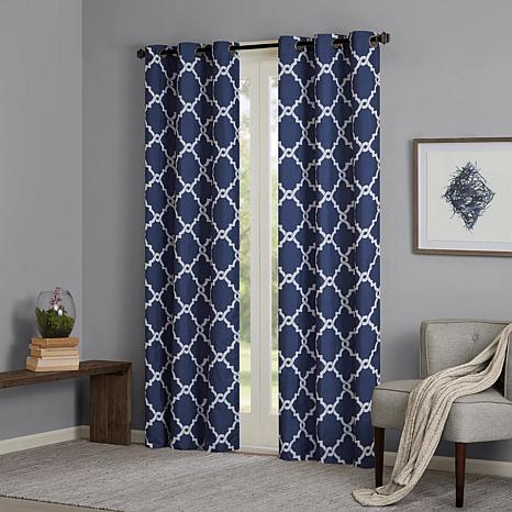 Madison Park Essentials Merritt Fretwork Panel Curtain Pair - Navy ...