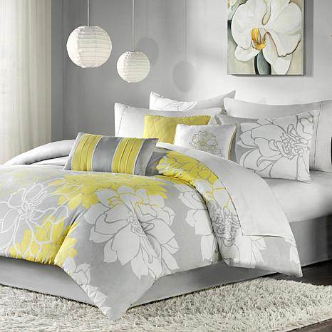 Madison Park Lola Comforter Set Gray/Yellow