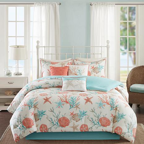 Madison Park Pebble Beach 7pc Coral Comforter Set - CK