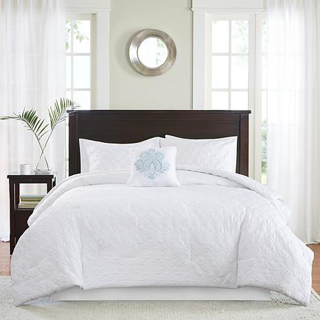 Madison Park Quebec 5 Piece White Comforter Set King