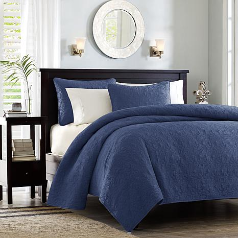 Madison Park Quebec Full/Queen Quilted Coverlet Mini Set - Navy