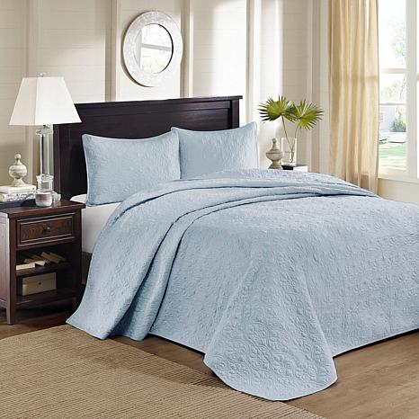 Madison Park Quebec Queen Quilted Bedspread Set - Blue