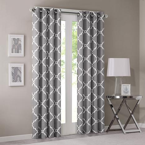 "Madison Park Saratoga Fretwork Curtain - Grey - 50""x63"""