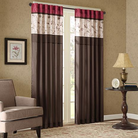 """Madison Park Serene Embroidered Panel Curtain-Red-50""""x84"""""""