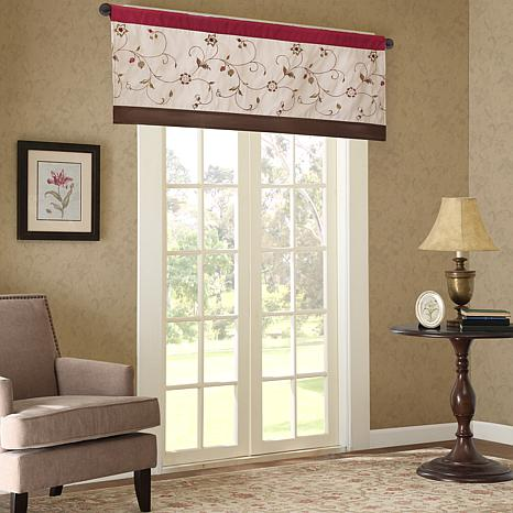 """Madison Park Serene Embroidered Valance - Red - 50""""x18"""""""