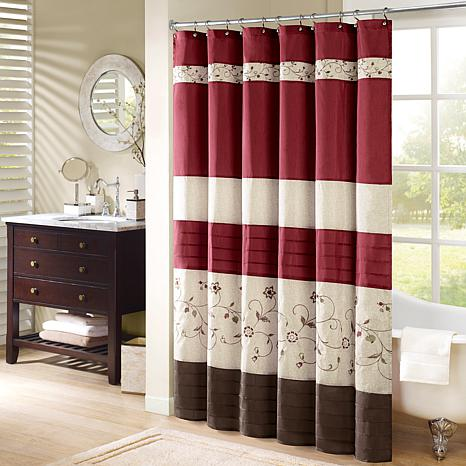 madison park serene embroidered shower curtain red 54 x 78 8171444 hsn. Black Bedroom Furniture Sets. Home Design Ideas
