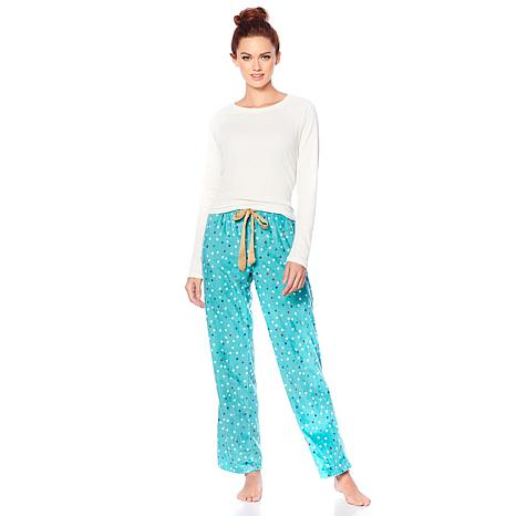 83b5021e0e Maidenform Ribbed Top and Fleece Pant Pajama Set - 8801603
