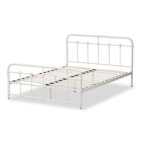 Mandy White Metal Platform Bed
