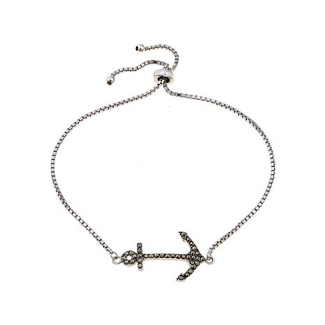 Marcasite Anchor Adjustable Bracelet with Slide Clasp