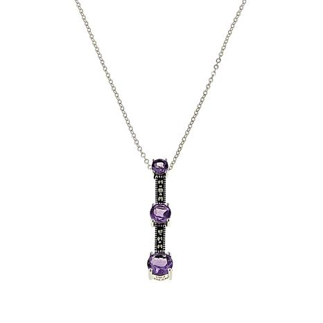 "Marcasite and Amethyst 3-Stone Sterling Silver 18"" Drop Necklace"