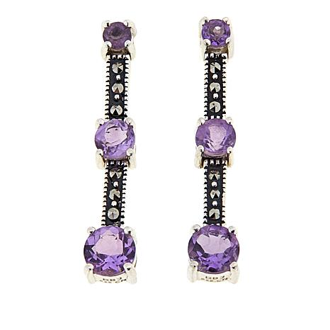 Marcasite and Amethyst Sterling Silver 3-Stone Drop Earrings