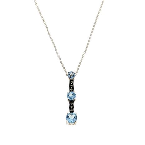 "Marcasite and Blue Topaz 3-Stone Sterling Silver 18"" Drop Necklace"