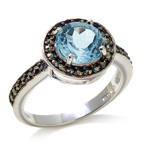 Marcasite and Blue Topaz Round Sterling Silver Ring