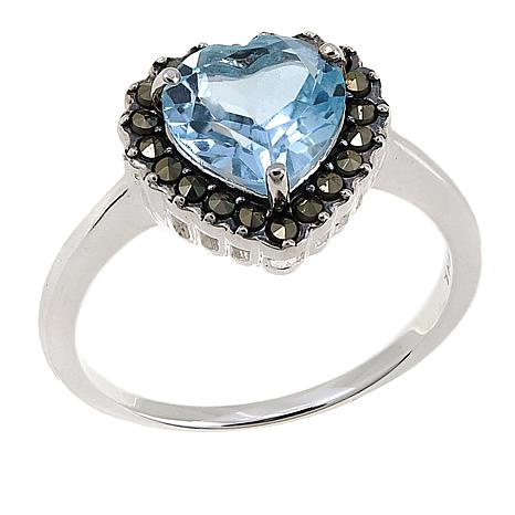 Marcasite and Blue Topaz  Sterling Silver Heart-Shaped Ring