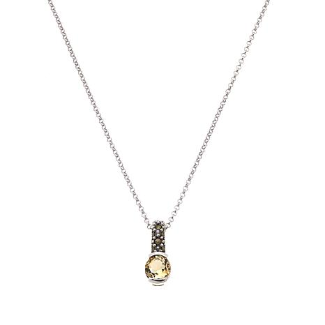 Marcasite and Citrine Pendant with Chain - November