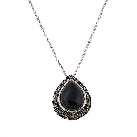 Marcasite and Color-Enhanced Onyx Pear-Shaped Pendant with Chain