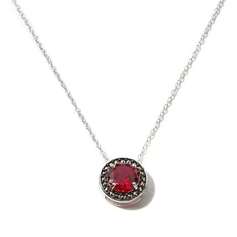 Marcasite and Created Ruby Sterling Pendant w/Chain