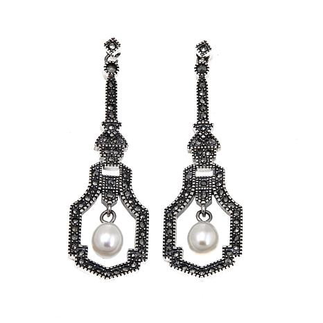 Marcasite and Cultured Freshwater Pearl Deco-Inspired Dangle Earrings