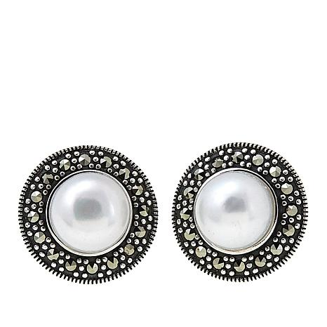 Marcasite and Cultured Pearl Button Sterling Silver Stud Earrings