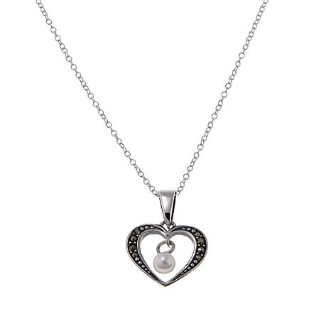 "Marcasite and Cultured Pearl Open-Heart Pendant with 18"" Chain"