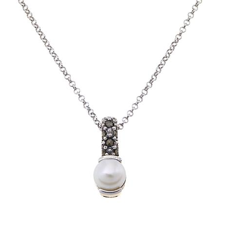 Marcasite and Cultured Pearl Pendant with Chain - June