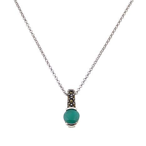Marcasite & Emerald Sterling Pendant with Chain - May