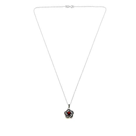 "Marcasite and Garnet Flower Pendant with 18"" Cable Chain"