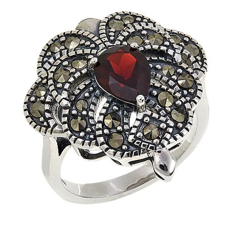 Marcasite and Garnet Sterling Silver Filigree Ring