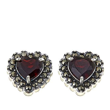 Marcasite And Garnet Sterling Silver Heart Shaped Stud Earrings