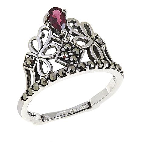 Marcasite and Garnet Sterling Silver Tiara Ring