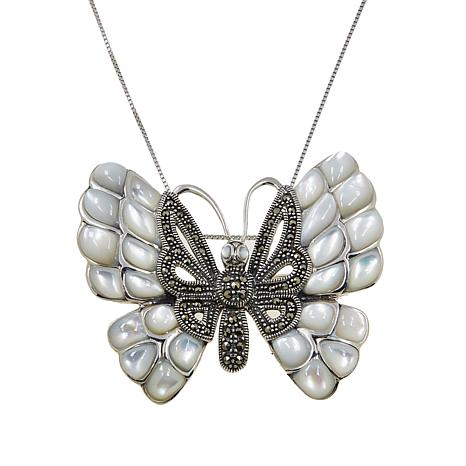 """Marcasite and Mother-of-Pearl Butterfly Pendant/Pin with 18"""" Box Chain"""