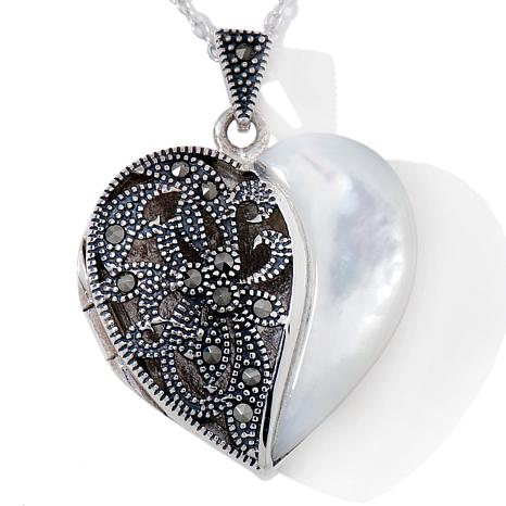 Marcasite and Mother-of-Pearl Heart Locket with Chain