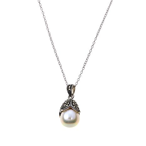Marcasite and Mother-of-Pearl Petal Cap Pendant w/Chain