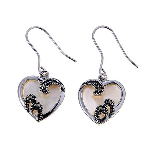 Marcasite Mother Of Pearl Sterling Silver Heart Shaped Drop Earrings
