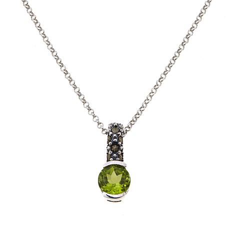 Marcasite & Peridot Sterling Pendant w/Chain - August