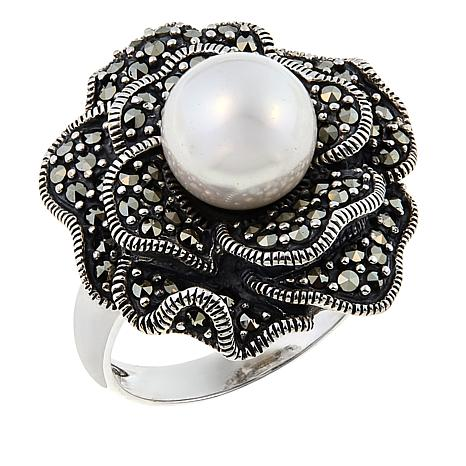 Marcasite and Shell Bead Sterling Silver Flower Ring