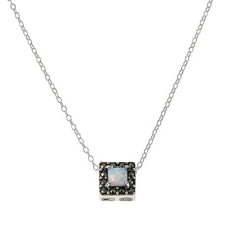 "Marcasite and Synthetic Opal Doublet Square Pendant Drop 18"" Necklace"