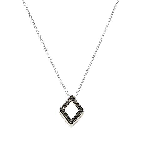 "Marcasite Diamond-Shaped Sterling Silver Pendant with 18"" Cable Chain"