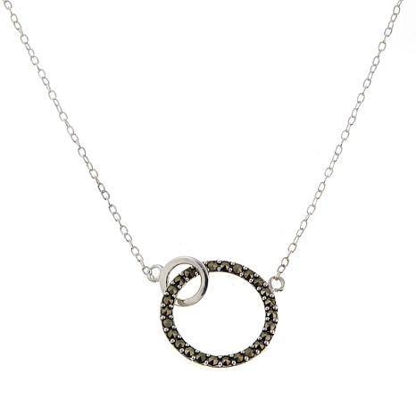 "Marcasite Open-Circle Pendant 17"" Cable-Chain Necklace"