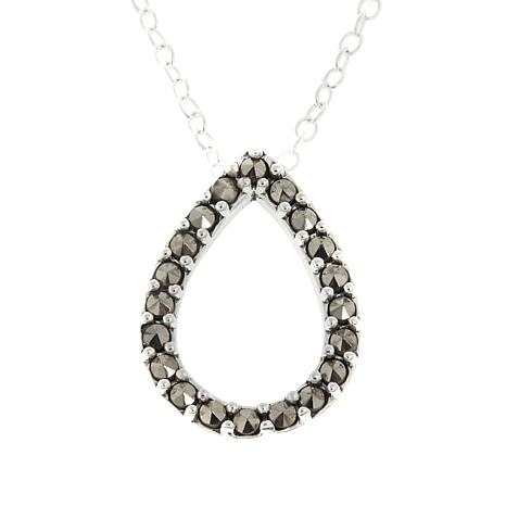 "Marcasite Open Teardrop Pendant with 18"" Cable Chain"