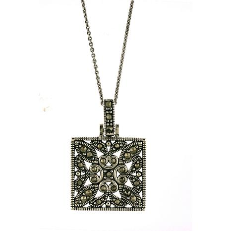 "Marcasite Square Pendant with 18"" Cable Chain"