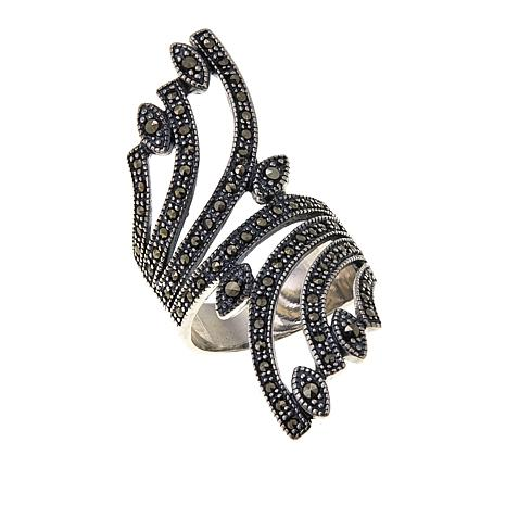 Marcasite Sterling Silver Bypass Spray-Design Statement Ring