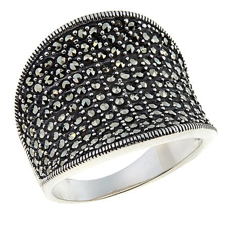 Marcasite Sterling Silver Concave Tapered Wide-Band Ring