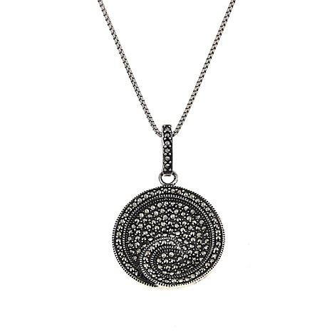 "Marcasite Sterling Silver Concentric Circle Pendant with 18"" Chain"