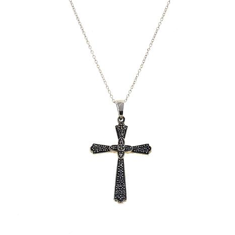 "Marcasite Sterling Silver Cross-on-Cross Pendant with 18"" Chain"