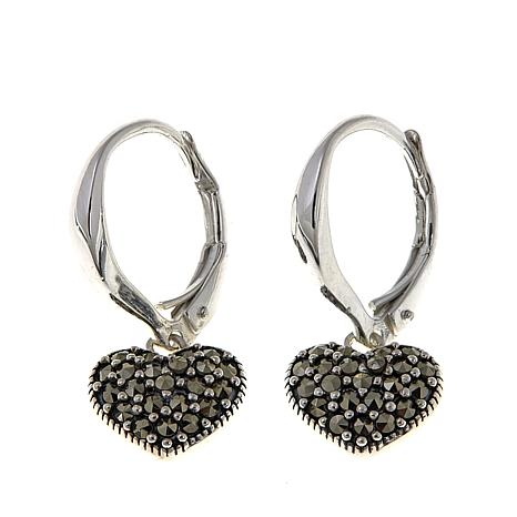 Marcasite Sterling Silver Heart-Drop Earrings
