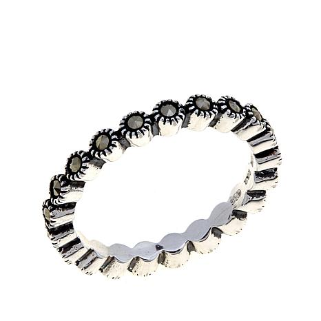 Marcasite Sterling Silver Scalloped Design Eternity Band