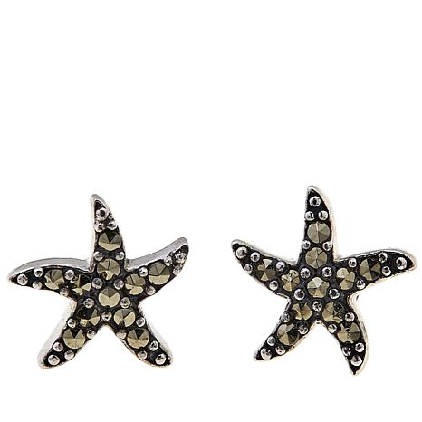 Marcasite  Sterling Silver Starfish Stud Earrings