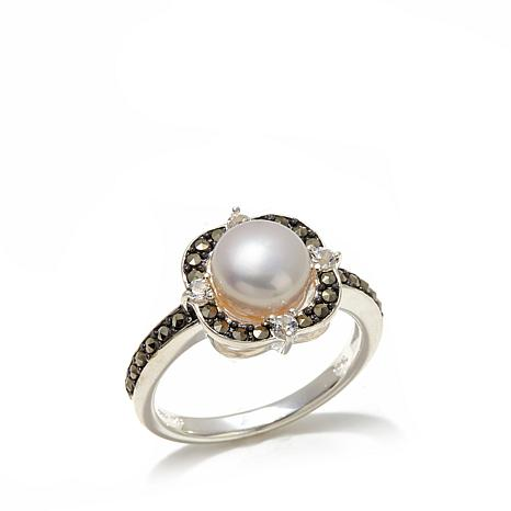 Marcasite, White Topaz and Cultured Pearl Square Ring